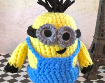 Crochet Minion Kevin Stuffed Two-Eyes with Tall Hair