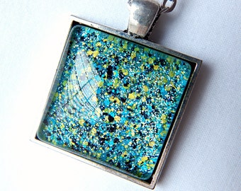 Neon Glitter Nail Polish Pendant; Glass Cabochon Necklace; Hand Painted Jewelry; Square Glass Pendant Necklace; Neon Nail Polish Jewelry