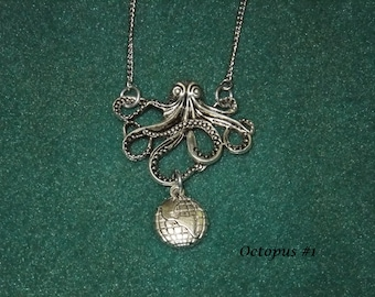 Octopus & Globe Necklace