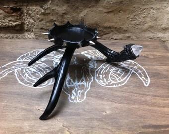 """Deer antler black spiked gothic candle holder """"Utu"""""""
