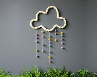 Cloud Mobile. White. Nursery Mobile. Baby Kids room. Baby decor. Colourful mobile. Children room. Homewares Gift. Felt balls
