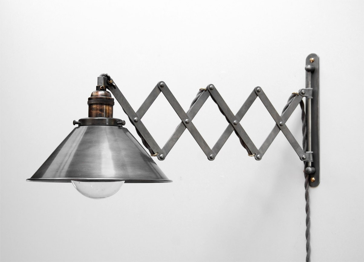 Wall Mounted Scissor Lamp : Scissor Lamp Articulating Adjustable Steel Swing Sconce