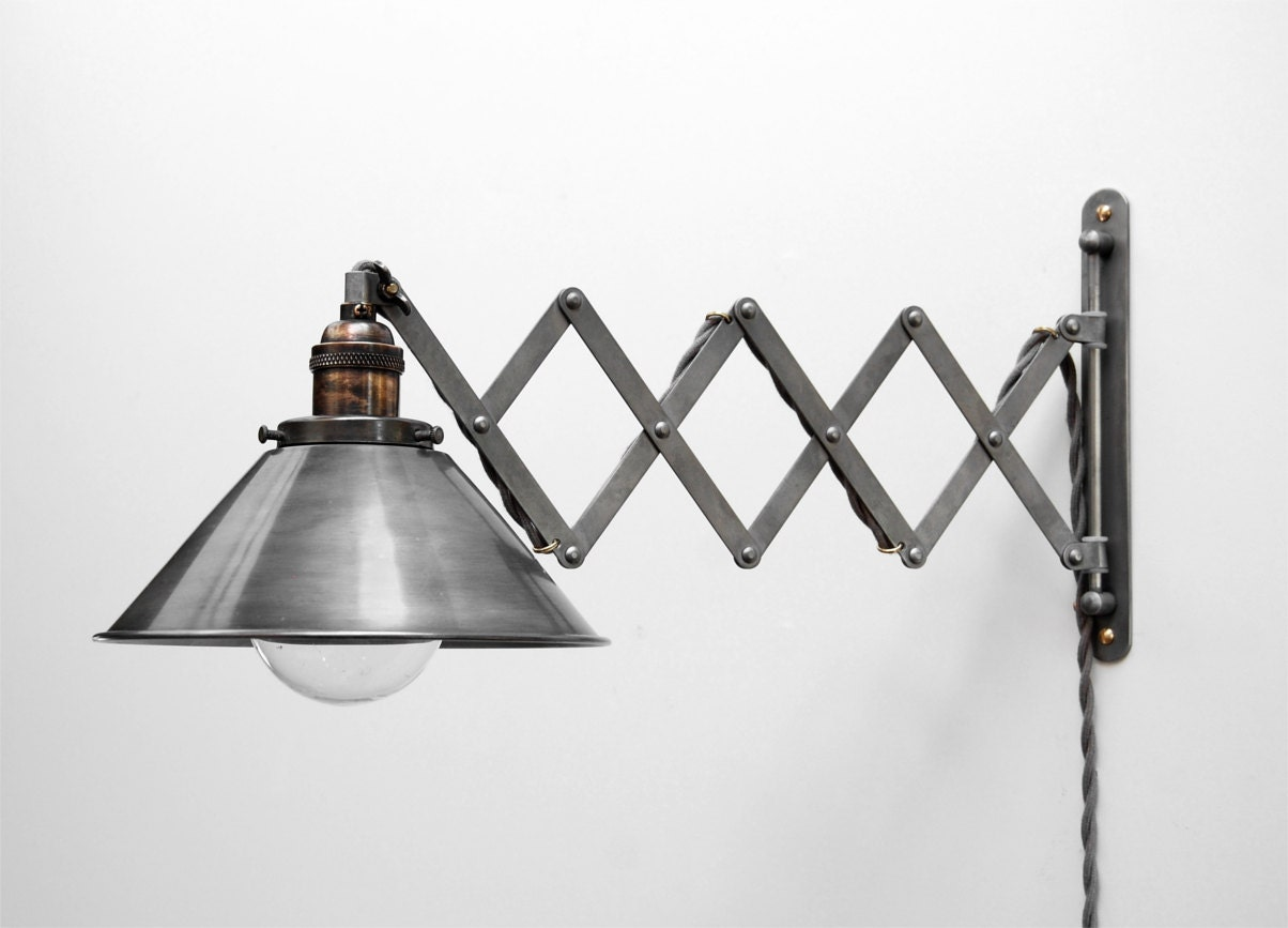 Scissor Lamp Articulating Adjustable Steel Swing Sconce