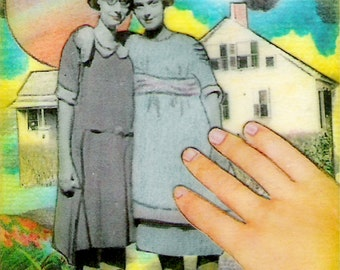 Best Friends Forever - ACEO,  Watercolor, Collage, Mixed Media, Miniature Art, Print