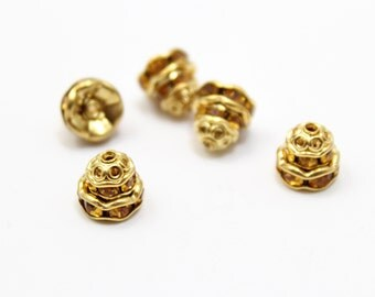 Bead Caps Gold with Topaz Swarovski Crystals 8mm 4 pcs