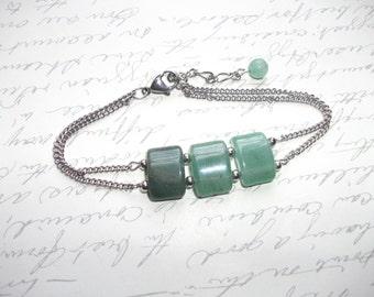 Green ombre quartz stainless steel chain bracelet