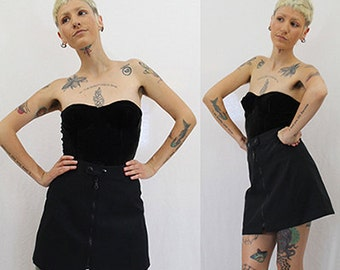 Vintage 90s Black Mini Skirt Exposed Front Zipper Industrial Goth Punk Extra Small