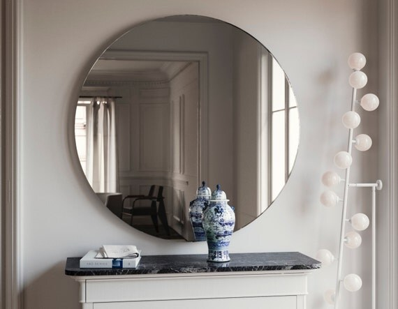 Round Art Deco Style Mirror Symmetrical 1920s And 1930s