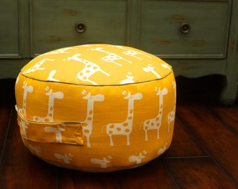 The Original Pouf Floor Cushion - Gisella Golden Yellow + Grey