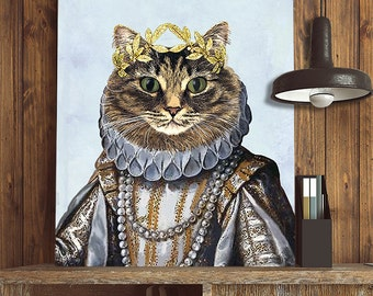 Tabby cat art print - cat queen - royal cat tabby cat print gift for cat lover gift for wife birthday tabby cat poster tabby cat painting