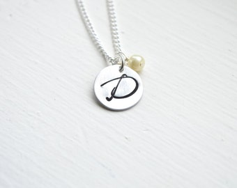 Hand Stamped Aluminum Initial Necklace.