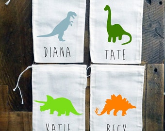 Dinosaur Personalized Muslin Party Favor Bags {set of 10}