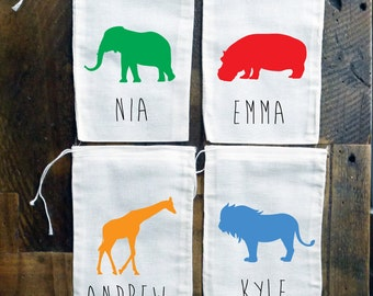 Zoo Animal Silhouettes Personalized Party Favor Bags {set of 10}
