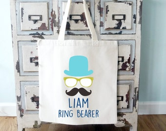 Ring Bearer Mustache Hipster Personalized Tote