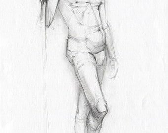 Man model drawing - male model pencil drawing , paper