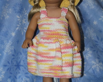 """Cotton Sundress with Hat for 18"""" doll"""