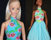 My Size BARBIE Doll, Frozen ELSA & ANNA Aqua Stripes Dress