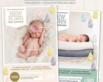 Photography Marketing Board /Newborn Mini Session - Photoshop Template for photographers (DM1) - INSTANT DOWNLOAD