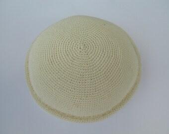 Cream & Gold Kippah.Handmade Crochet Kippah. Hand knitting Yarmulke. Cream Cotton Yarn with Gold line close to the edge. Holidays or Shabbat