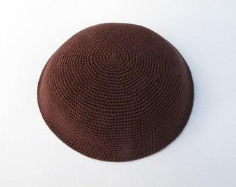 Dark Brown Kippah. Handmade Crochet Kippah. Hand knitted Yarmulke. Brown Cotton Yarn. Plain Dark Brown Kippah. Dark Brown Yarmulke.