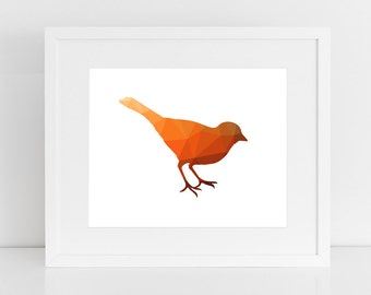 Orange Bird Print, Orange Bird Art, Polygon Art, Bird Art, Digital Print, Graphic Art, Abstract, Polygon, Bird Print, Printable, Wall Prints