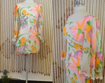 1960s 60s Vintage White Floral Chiffon Bell Sleeve Mini Dress With Bow - Extra Small
