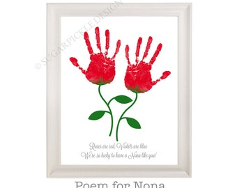 Gift for Nona, Nona's Birthday Gift, Mother's Day gift, Handprint, Kids gift to a Nona, Handmade Nona Gift