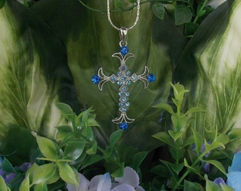 Blue Rhinestone Ornate Cross
