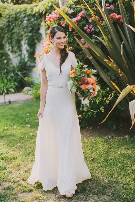 Ivory Silk Crepe Draped Sleeve Wedding Gown Vintage Inspired