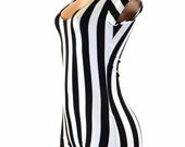 Black & White Stripe Referee Print Cap Sleeve Bodysuit Romper  Jailbird inmate 151213