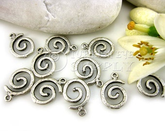 10 Pc Rustic Textured Spiral Figured Silver Charms, Silver Jewelry, Antique Silver Plated Brass Mini Charms, Turkish Jewelry