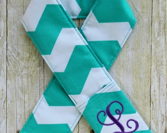 Monogrammed Camera Strap Cover - Teal Chevron - Padded - Lens Cap Pocket - DSLR - SLR