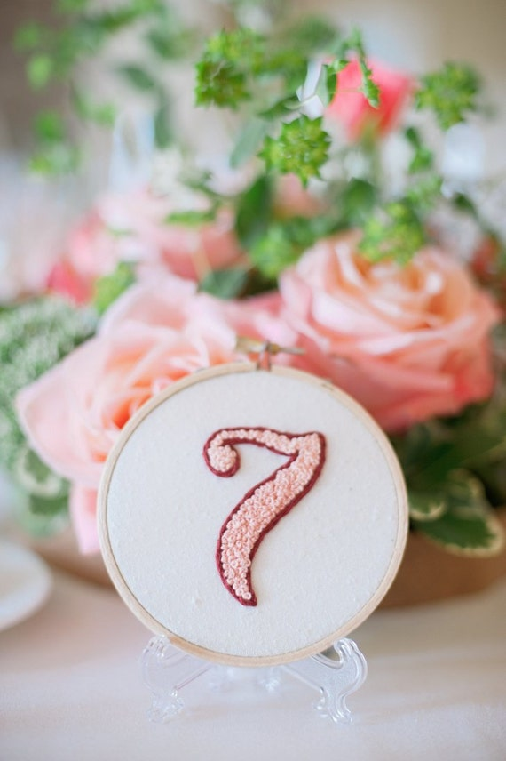 Custom Wedding Table Number Embroidery Hoop French Knot