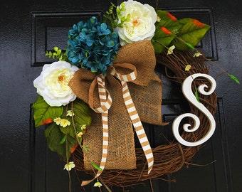 Blue Monogram wreath for summer, summer wreath, spring door wreath, wreath for door