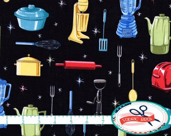 RETRO KITCHEN Fabric by the Yard, Fat Quarter Black Fabric Teapots, Utensils Fabric Quilting Fabric 100% Cotton Fabric Apparel Fabric w5-29