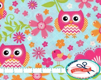 CHEVRON OWL Fabric by the Yard, Fat Quarter Owl & Bird Fabric Blue and Pink Fabric 100% Cotton Fabric Apparel Fabric Quilting Fabric a1-15