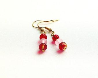 Red And Pink Drop Earrings, Classic Earrings, Scarlet Beaded Earrings, Linear earrings