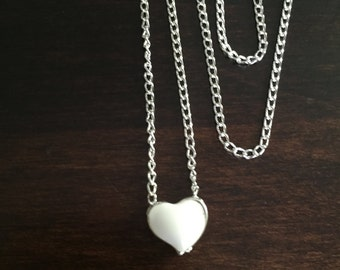 white heart necklace, heart necklace, silver heart necklace, necklace, silver necklace, necklace