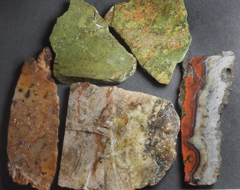 Interesting SLABS / lapidary material / COLORFUL / lapidary rough / cabbing rough / unusual cabbing material / stone tile