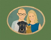 Custom portraits with dogs and cats. Personalized couple portraits. Quirky wedding gift.