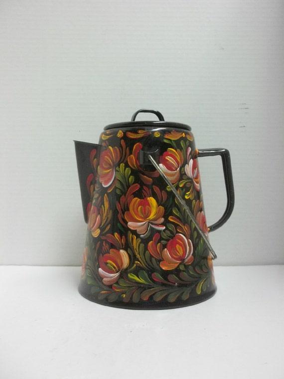 Hand Painted Coffee Pot Aluminum
