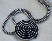SALE! Reg 149.00 Sterling Silver Necklace Contemporary Modernist Geometric Lotus Chain, Vintage Mexico Sterling Silver Necklace