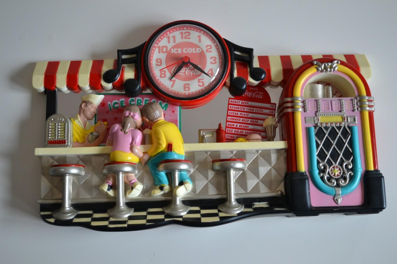 Vintage Coca Cola Retro 1950 S Diner Scene Wall Clock