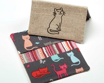 Cat Wallet, Cute Business Card Case, Mini Card Holder - Cat Gift / Cat Accessories