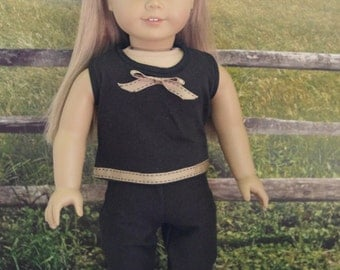 """American Girl Doll Clothes, 18"""" doll Clothes.  Black knit pants and top set."""