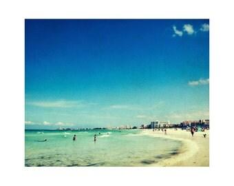 Large beach photography, beach art, large photography print, vintage beach wall art, retro travel photography Siesta Key Florida 16x20 print