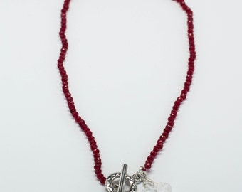 Ruby, Moonstone, Sterling Silver hand knotted Necklace