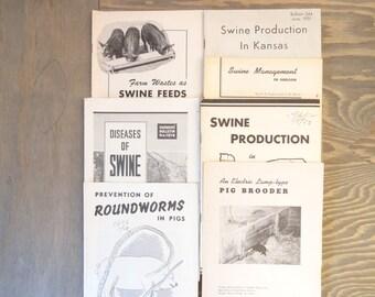 Vintage Pig Farming Booklets..Vintage Farmers' Bulletins..Swine Production..Farm Life..Country Living..Agriculture..Farming..Plain Living