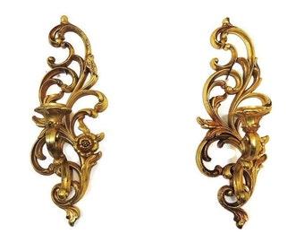 Gold Wall Sconces Syroco Ornate Vintage Decor