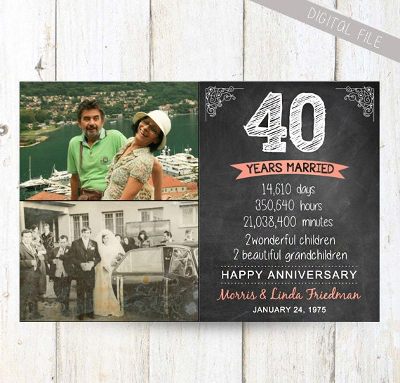 40 Wedding Anniversary Gift For Husband : anniversary gift for wife husband or best friends - 40th anniversary ...